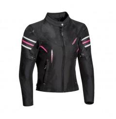Blouson Femme Moto Ixon ILANA Noir - Blanc - Rose