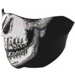 1/2 Masque Facial Néoprène ZANHEADGEAR Chrome Skull Moto - Quad - Scooter
