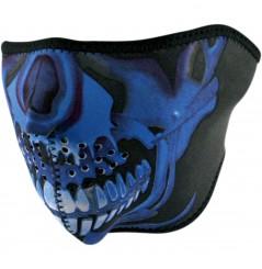 1/2 Masque Facial Néoprène ZANHEADGEAR Blue Chrome Skull Moto - Quad - Scooter