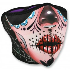 1/2 Masque Facial Néoprène ZANHEADGEAR Sugar Skull Moto - Quad - Scooter