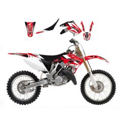 Kit Déco Honda Dream Graphic 3 + Housse de selle pour CRF250 R (10-13) CRF450 R (09-12)