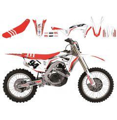 Kit Déco Honda Super White + Housse de selle pour CRF250 R (18-19) CRF450 R (17-19)