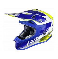 Casque Enfant Moto Cross JUST1 J32 PRO KICK Bleu - Blanc - Jaune