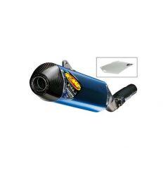 Silencieux FMF Factory 4.1 RCT Titane bleu / Carbone + Plaque Ufo pour Honda CRF450 R (13-16)