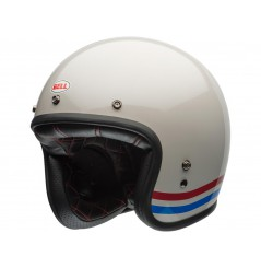 Casque Moto Jet BELL CUSTOM 500 DLX STRIPES PEARL Blanc