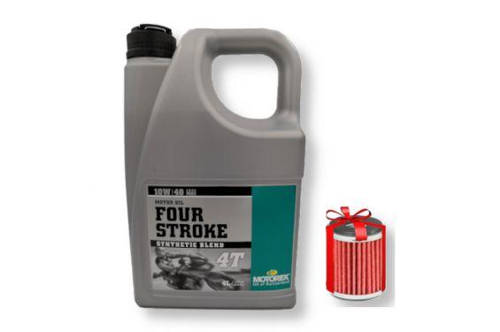Huile Motorex Four Stroke 4T 10W40 Semi-Synthétique 4 Litres + Filtre à Huile Offert