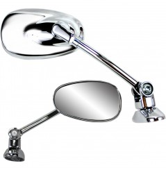 Rétroviseur Ovale Réversible Universel pour Carénage Moto PARTS UNLIMITED Look Chrome Support Long