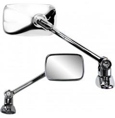 Rétroviseur Rectangle Réversible Universel pour Carénage Moto PARTS UNLIMITED Look Chrome Support Long