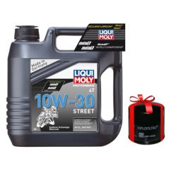 Huile Moto LIQUI MOLY 10W30 Motorbike Street Semi-Synthèse 4 Litres + Filtre à Huile Offert