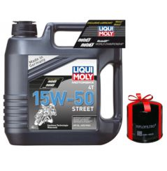 Huile Moto LIQUI MOLY 15W50 Motorbike Street Semi-Synthèse 4 Litres + Filtre à Huile Offert