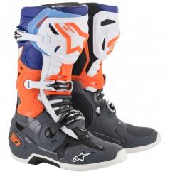 Bottes Moto Cross ALPINESTARS TECH 10 Gris - Rouge - Bleu - Blanc