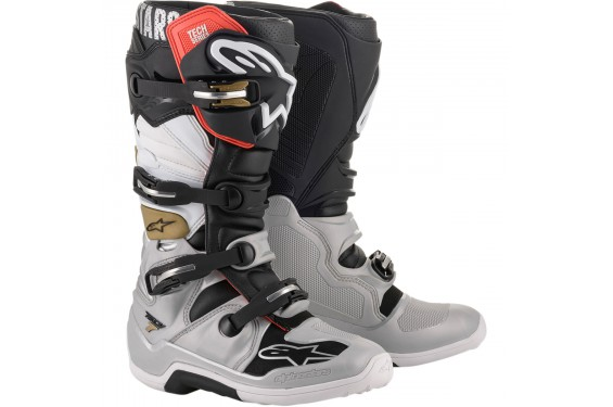 Bottes Moto Cross ALPINESTARS TECH 7 Noir - Gris - Blanc - Or