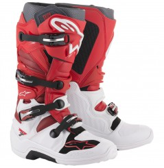 Bottes Moto Cross ALPINESTARS TECH 7 Blanc - Rouge, collection 2021