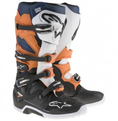 Bottes Moto Cross ALPINESTARS TECH 7 Noir - Orange - Blanc - Bleu