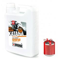 Huile moto Ipone Katana Off-Road 4T 10W40 4 Litres + Filtre à Huile Offert