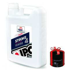 Huile moto Ipone Stroke 4 Racing 15W50, 4 Litres + Filtre a Huile Offert