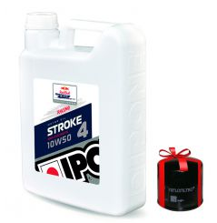 Huile moto Ipone Stroke 4 Racing 10W50, 4 Litres + Filtre a Huile Offert