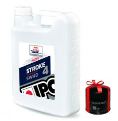 Huile moto Ipone Stroke 4 Racing 5W40, 4 Litres + Filtre a Huile Offert