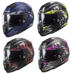 Casque moto LS2 Vector Evo Stencil Bleu / Rouge / Jaune / Rose