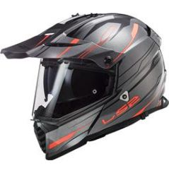 Casque Cross LS2 Pioneer Evo Knight Titane et Orange