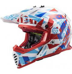 Casque Cross LS2 Fast Evo Funky Rouge et Blanc