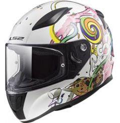 Casque Moto Enfant LS2 RAPID MINI CRAZY POP Blanc - Rose