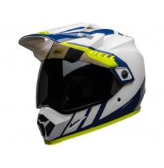 Casque Moto Cross BELL MX-9 ADVENTURE MIPS DASH Blanc - Bleu - Jaune 2020