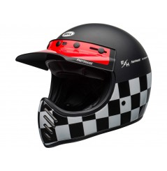 Casque Moto Cross BELL MOTO 3 FASTHOUSE CHECKERS Noir - Blanc - Rouge 2020