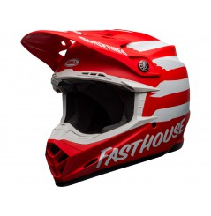 Casque Moto Cross BELL MOTO-9 MIPS FASTHOUSE SIGNIA Rouge - Blanc 2020