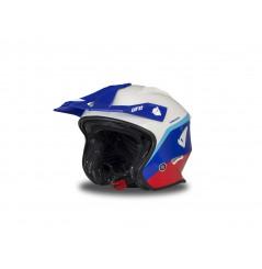 Casque Moto Cross UFO JET SHERATAN Bleu - Blanc - Rouge 2020