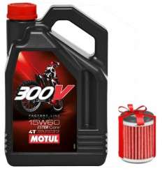 Huile moto Motul 300V 15W60 4 Litres Factory Line Off Road + Filtre a Huile Offert