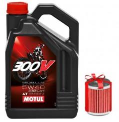Huile moto Motul 300V  5W40 4 Litres Factory Line Off Road + Filtre a Huile Offert