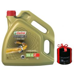 Huile moto Castrol Power 1 Racing 4T 10W40 100% Synthèse 4 Litres + Filtre à Huile Offert